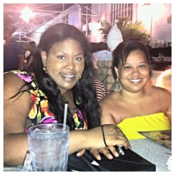 Xayna and Venus enjoy dinner at CJ's Crab Shack on Ocean Ave.