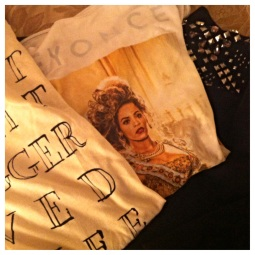 "A few other cute finds in Miami including this ""Last Night a Blogger Saved My Life"" tee, a studded and embellished sweatshirt, and, of course, my souvenir ""Mrs. Carter World Tour"" tank top."