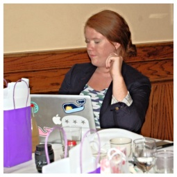 Trish takes break from the computer to manage social media from her phone. Way to multi-task girlfriend!