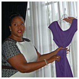 Showing the difference between a dress that wraps and has draping and one that cinches in the waist.