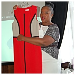 Here, I'm showing how this amazing Calvin Klein dress (available at Dress Barn) helps fake a waist if you don't have one and also offers a slimming silhoutte.